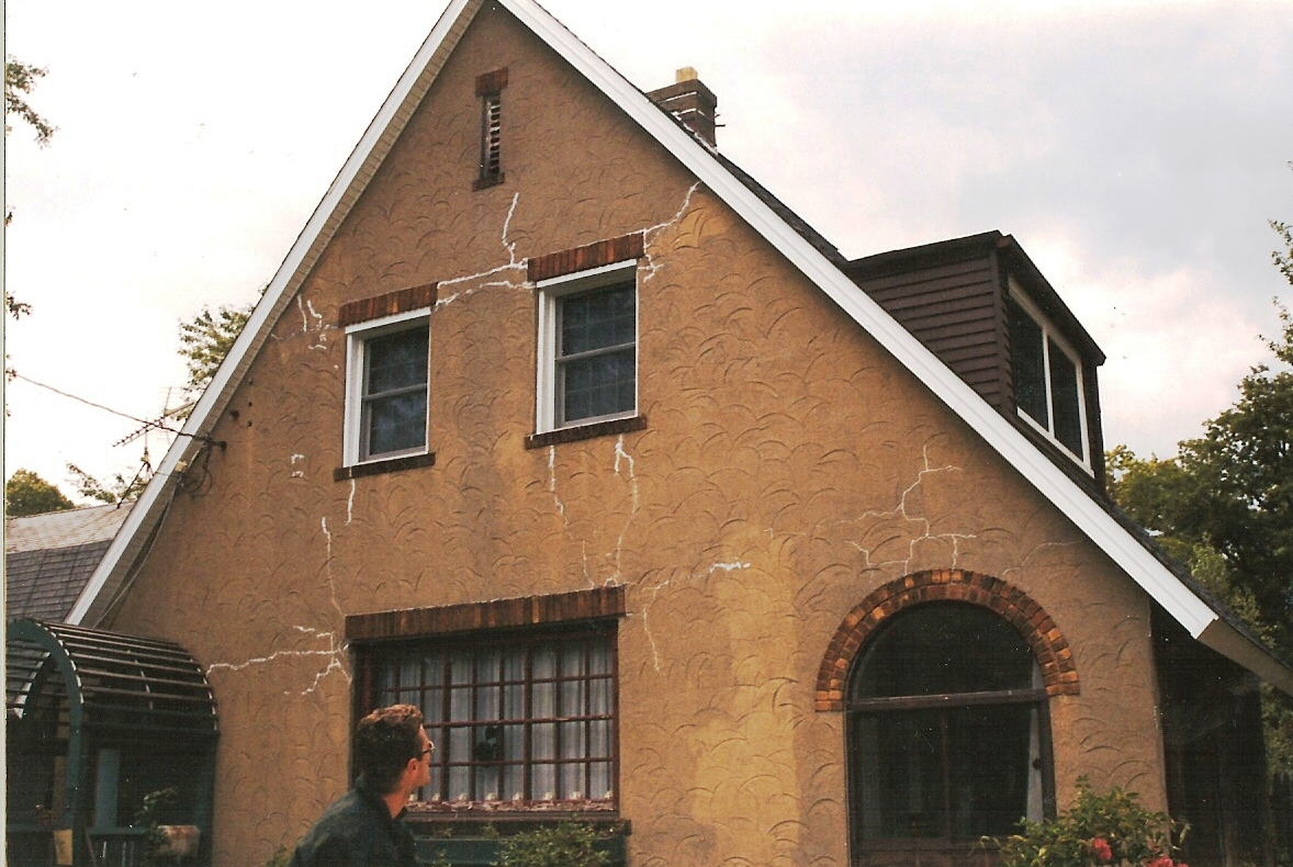 Before - deterioating stucco