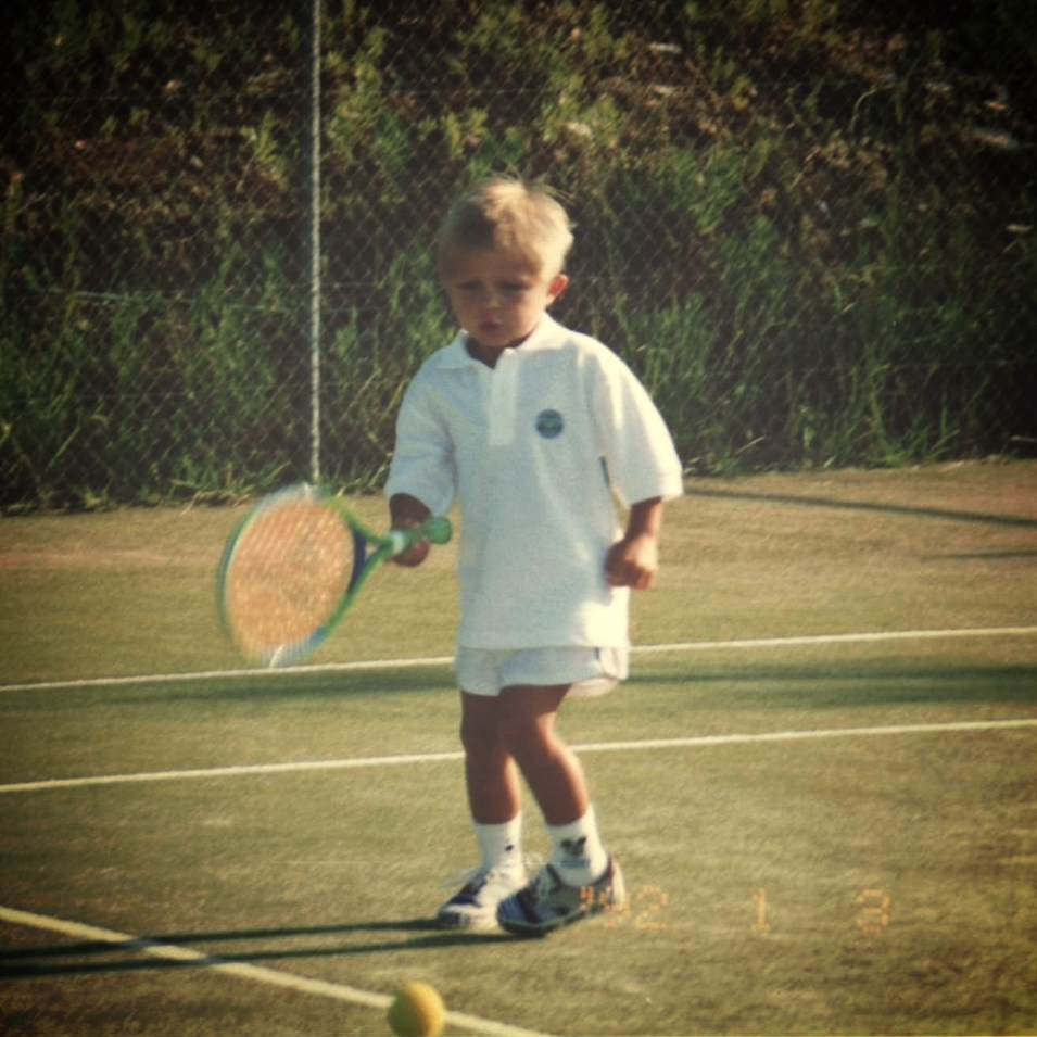 Aged 4 I was just getting used to swinging a racket.