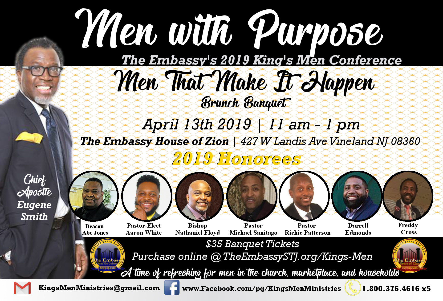 Men That Make It Happen - The King's Men Brunch Banquet is honoring 7 extraordinary men that are faithful and committed to ministry!