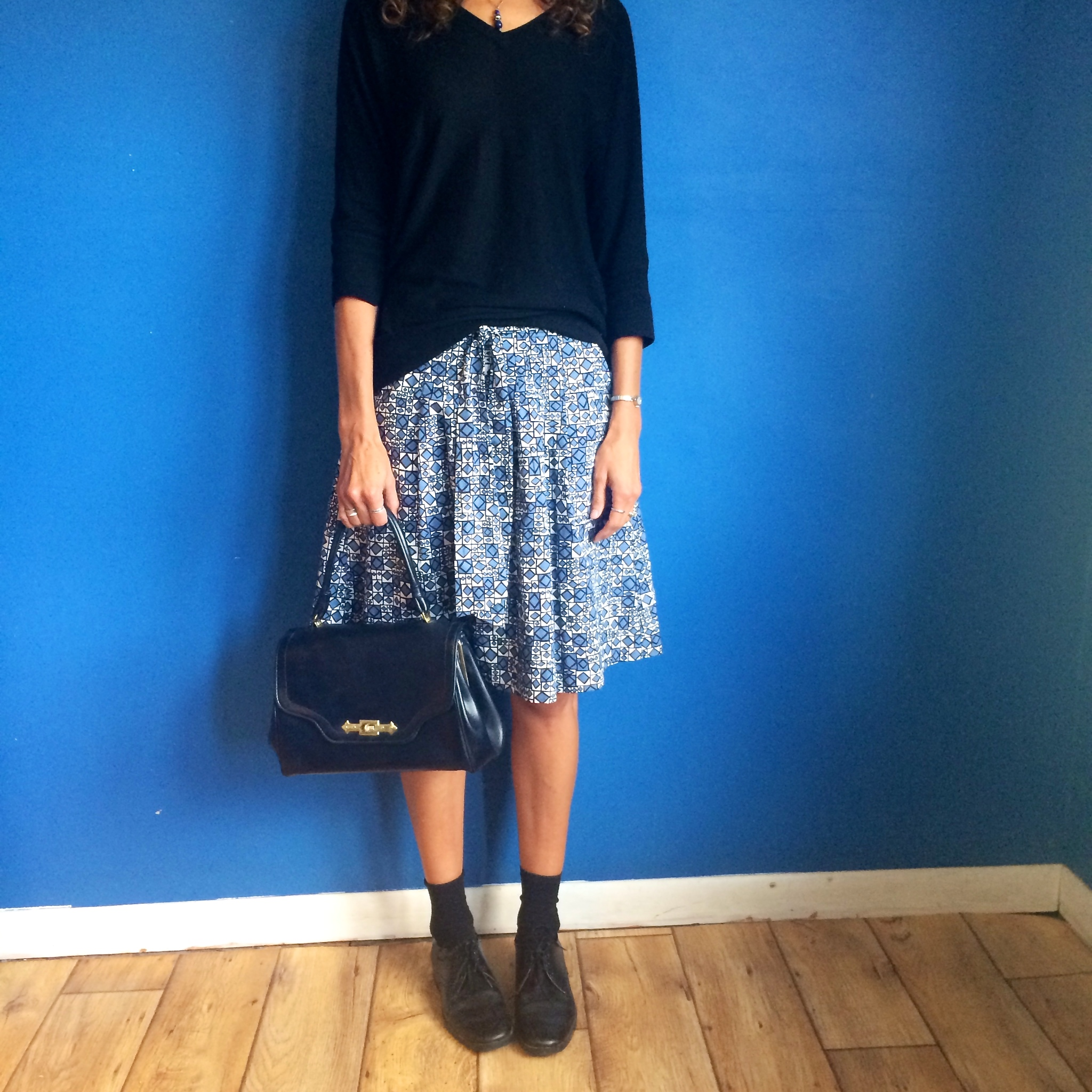 Skirt: thrifted from Goodwill, Sweater: Target (clearance), Shoes: thrifted from Mel Trotter, Purse: belonged to my grandma