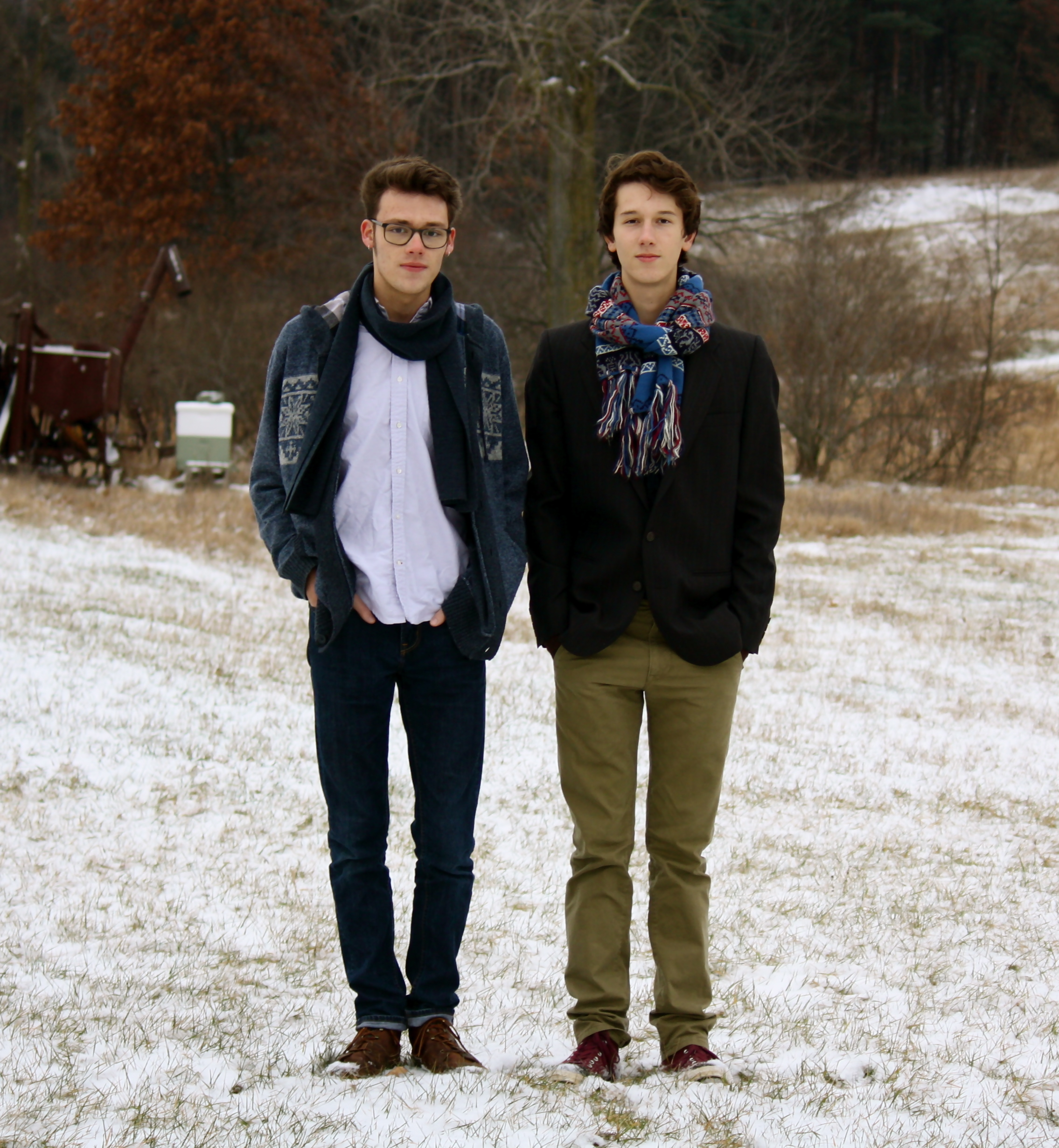 Jack is wearing a thrifted shirt and thriftedboots. Will is wearing a thrifted scarf and thrifted blazer.