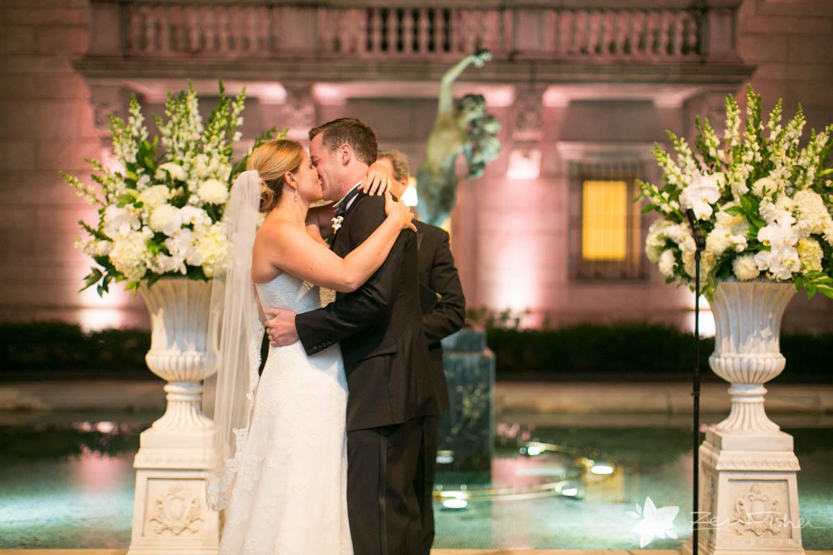 Elegant White Wedding at Bates Hall, BPL  Zev Fisher Photography