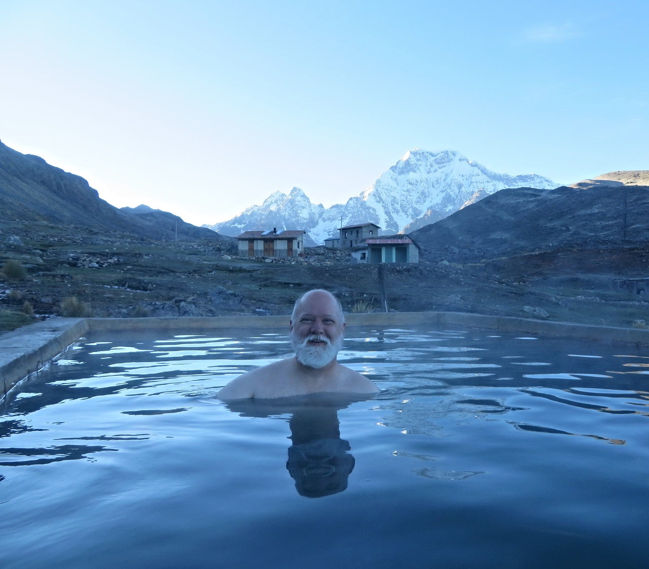 Jeffrey Rich, shamanic healing practitioner in hot springs, early morning at Apu Ausangate, Peru, 2013