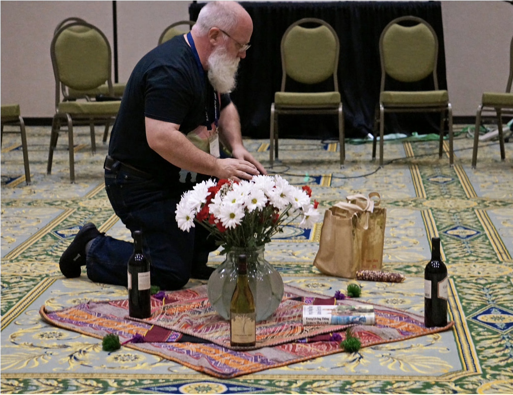 Jeffrey Rich preparing Pachamama altar for North American Systemic Constellations Conference 2017 presentation