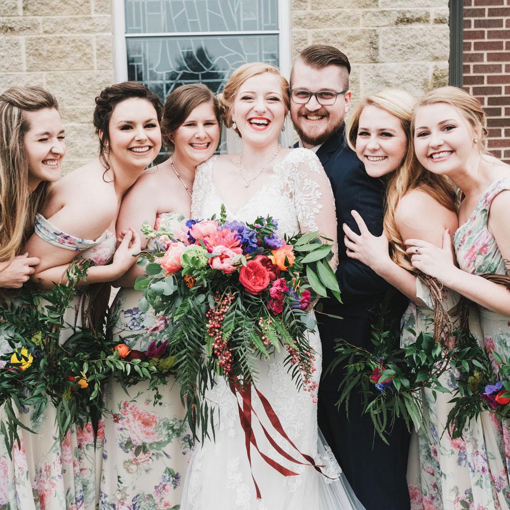 Chloe & Noah - Bridesmaids' wreaths & a bold bridal bouquet