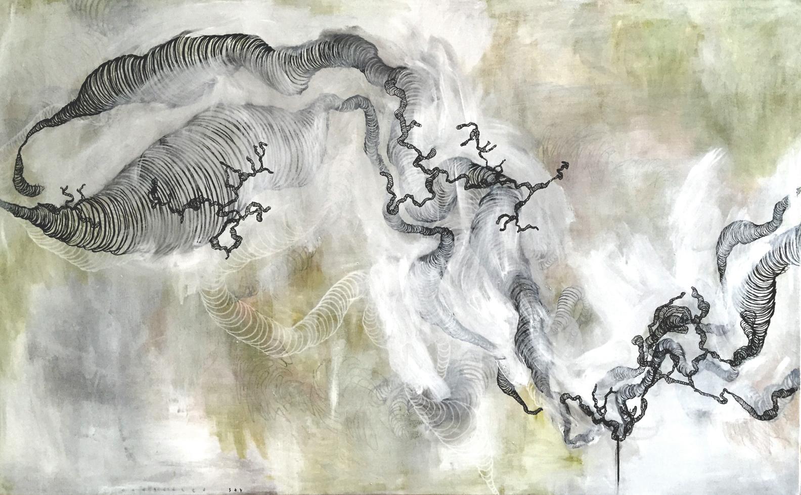 "congealed sky , 53.75"" X 87"", acrylic on canvas, 2015"