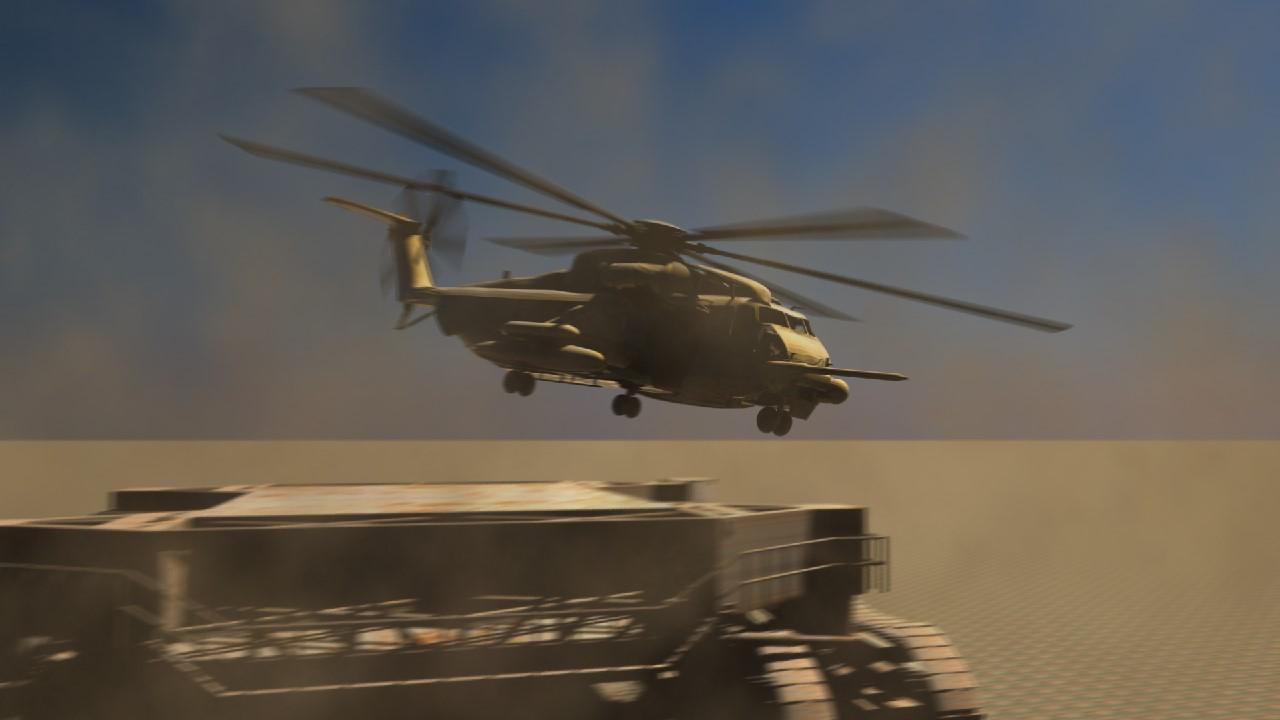 Frame from animated scene of desert helicopter operations.