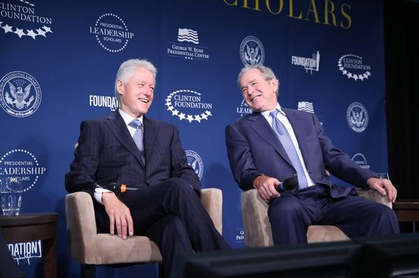 """Presidents Bill Clinton and George W. Bush launch """"Presidential Leadership Scholars"""" live program, September 8, 2014, as Director."""