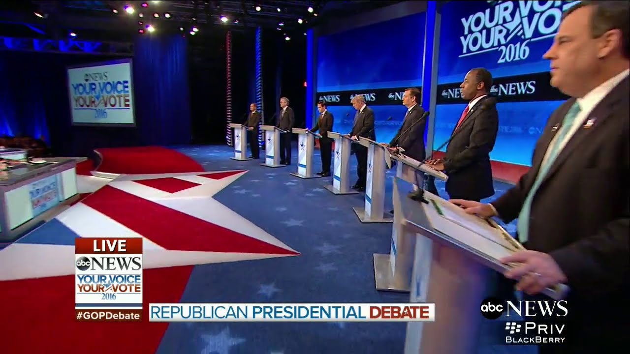 """8th Republican Presidential Debate with candidates Donald Trump, Sen. Ted Cruz, Sen. Marco Rubio, Dr. Ben Carson, former Gov. Jeb Bush, Gov. Chris Christie and Gov. John Kasich, hosted by ABC News on Saturday night February 6, 2016 in Manchester, New Hampshire, moderated by """"World News Tonight"""" anchor David Muir and Chief Global Affairs Correspondent and co-anchor of """"This Week with George Stephanopoulos"""" Martha Raddatz. Technical Director - Richard Ehrenberg"""