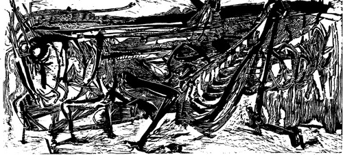 The Grasshopper, black and white woodcut, featured in April 11, 1955 Time Magazine