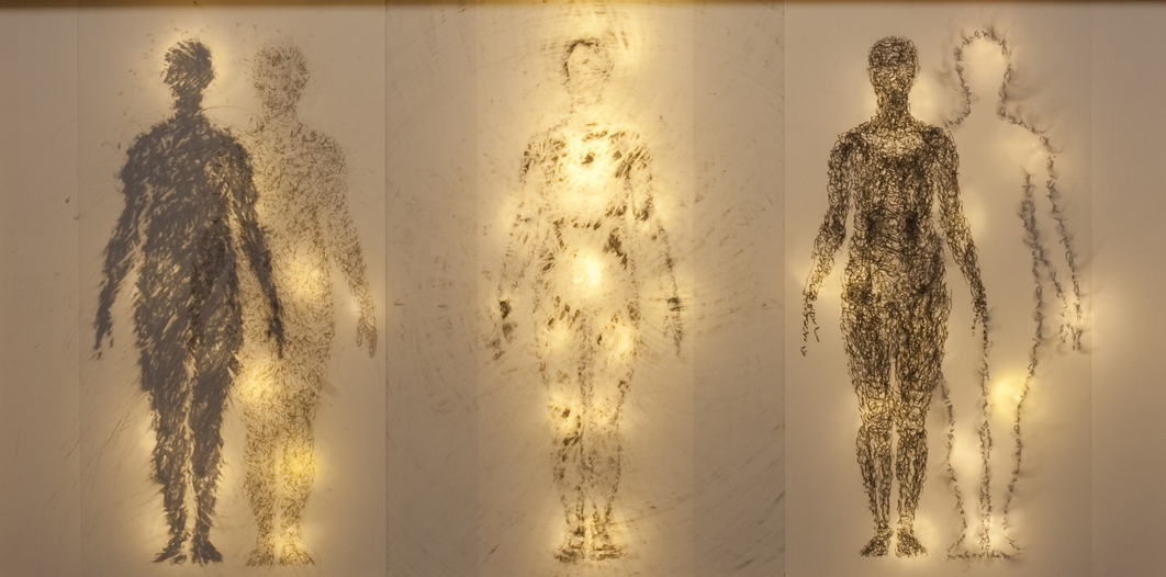 Embracing Light & Dark in the Infinite Sea of Energy graphite on drafting film w LED lights 17x33in 2012.jpeg