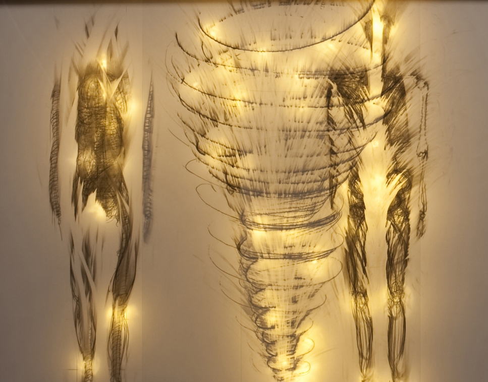 Deep Time Spirals through Us graphite on drafting film w LED lights 17x22in 2012.jpeg