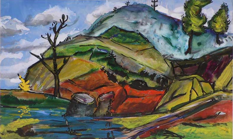 Stumps in the Valley,  Watercolor by Charles Yeager 2007.01