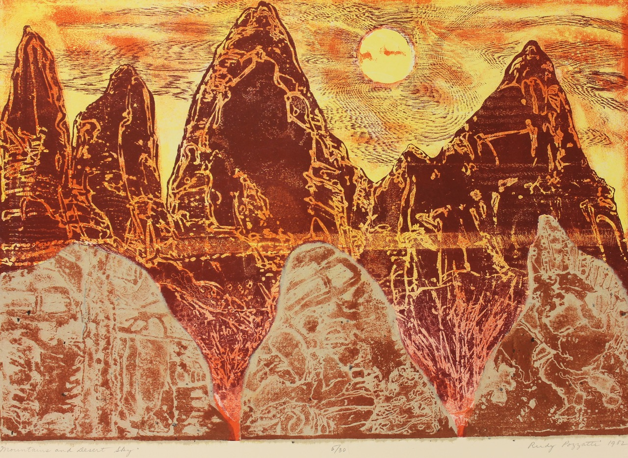 Artist : Pozzatti, Rudy   Title : Mountains and Desert Sky (ed. no. 5/20)   Medium : color lithograph on stone and aluminum plate with Japanese paper collage   Credit : Gift of Rudy and Doti Pozzatti in memory of Richard K. Curtis   Accession # : 2015.14.107