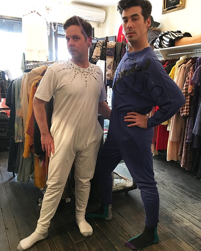 Michael and Thomas ready to go out tonight #vintage #jumpsuit #partyoutfit #brooklyn #nyc
