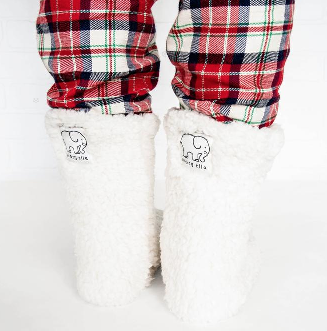 Ivory Ella Sherpa Socks  - A portion of all proceeds are donated to 'Save the Elephants.'