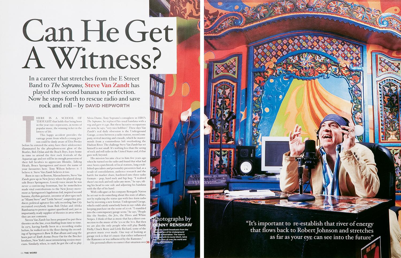 Steve Van Zandt, The Word Magazine.