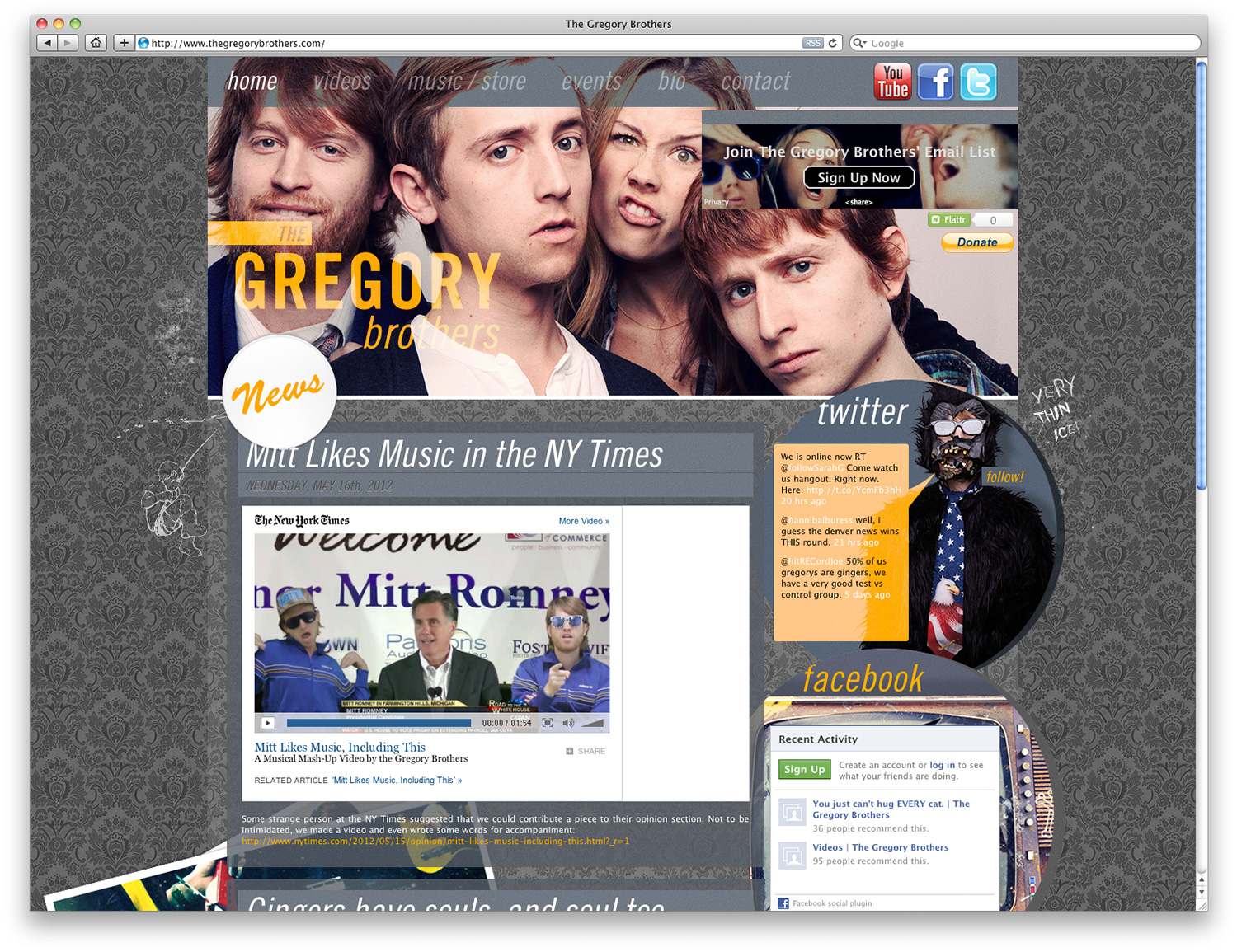 The Gregory Brothers' website www.thegregorybrothers.com.