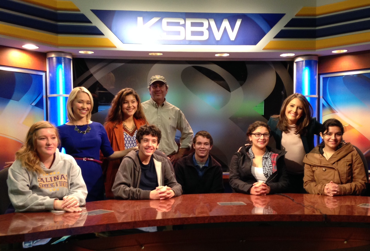Members of Monterey County Young Journalists, in a class taught by Peter Funt, visit KSBW-TV in Salinas.