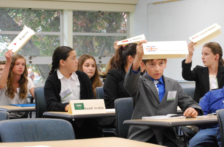 Representatives in the ECOSOC raise their placards to vote to pass a motion. (Japan: Juniper Newhouse, Saudi Arabia: Parker Bridges, U.K.: Nathan Poggemeyer, U.S.: Hannah von Benedikt)