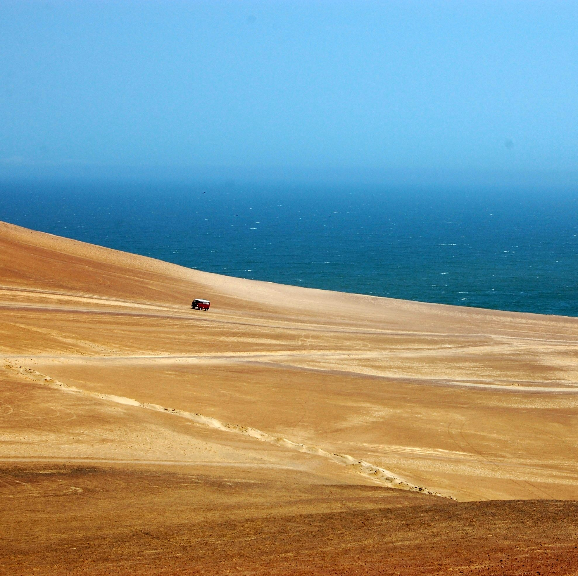 Driving on the dunes in Paracas National Park, Peru