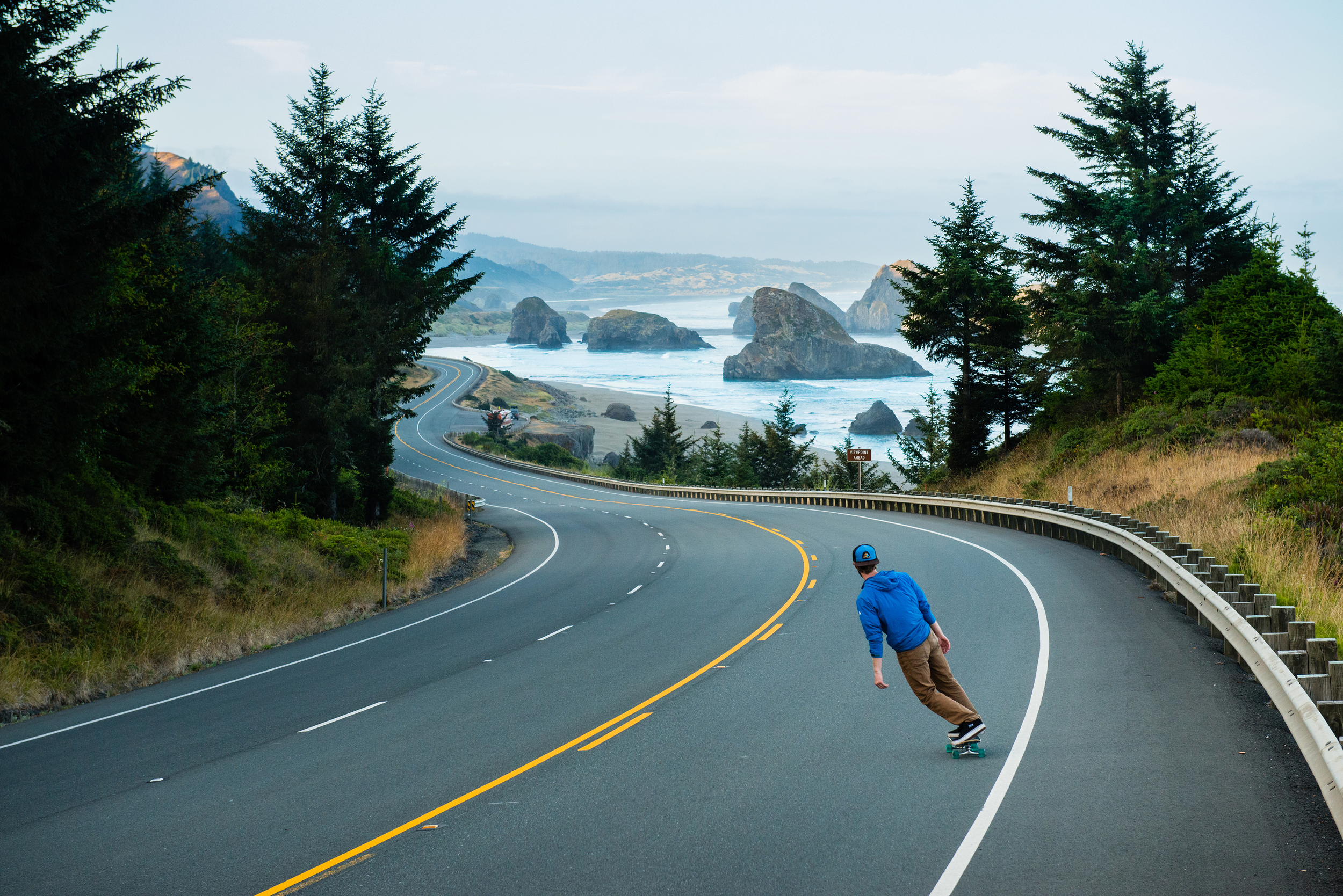 Roads this iconic were designed to be skated: Highway 101, Oregon.