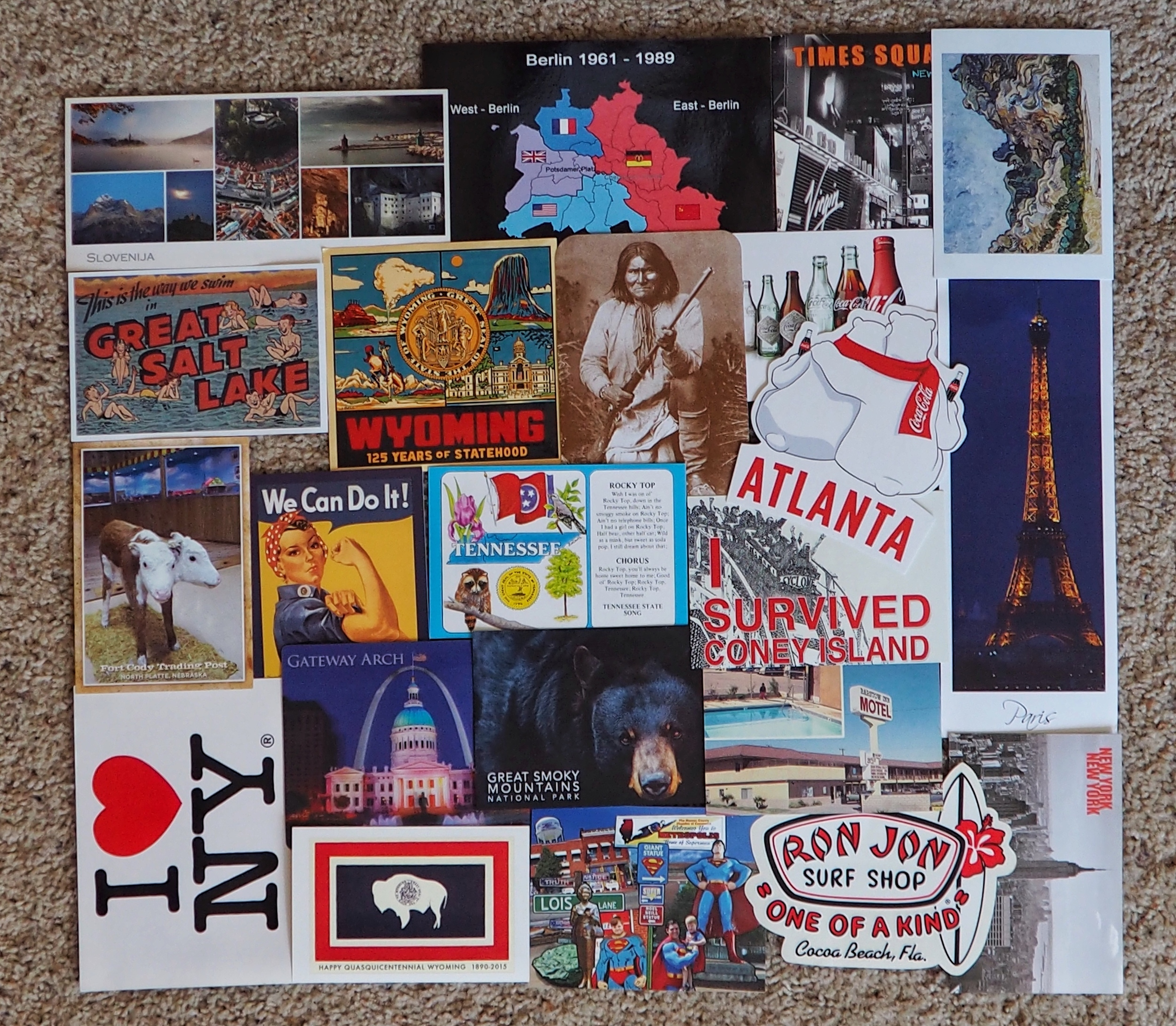 Hannah's collection of postcards from each state and/or country that she has visited.
