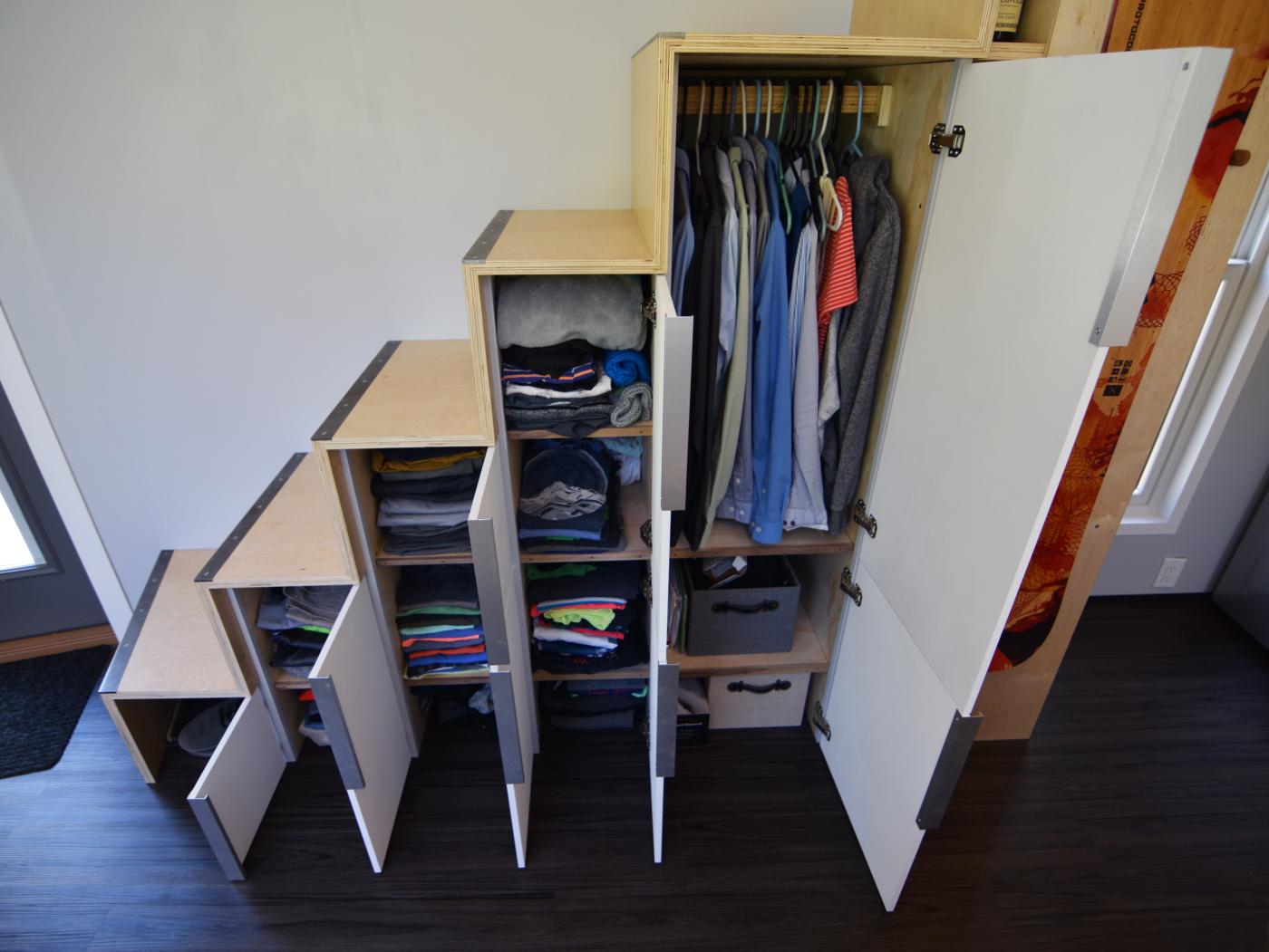 Custom plywood stairs.