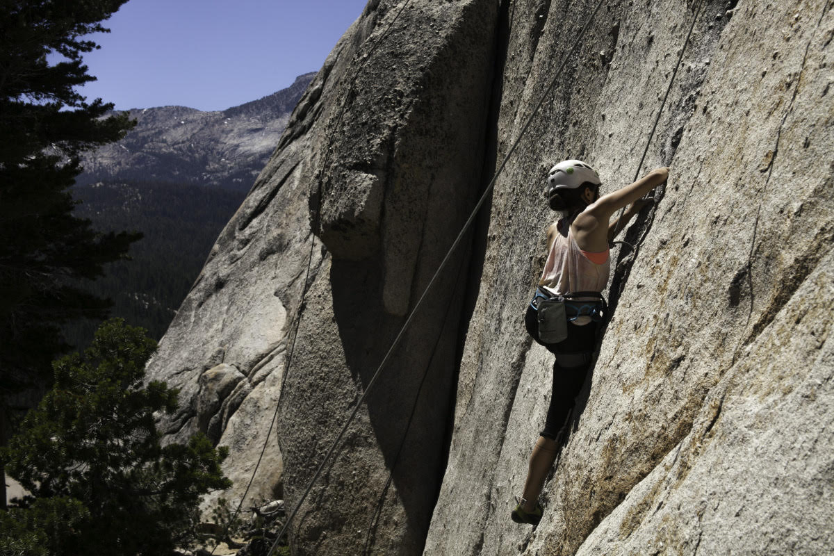 Cali climbing Daff Dome, Toulomne Meadows in Yosemite National Park