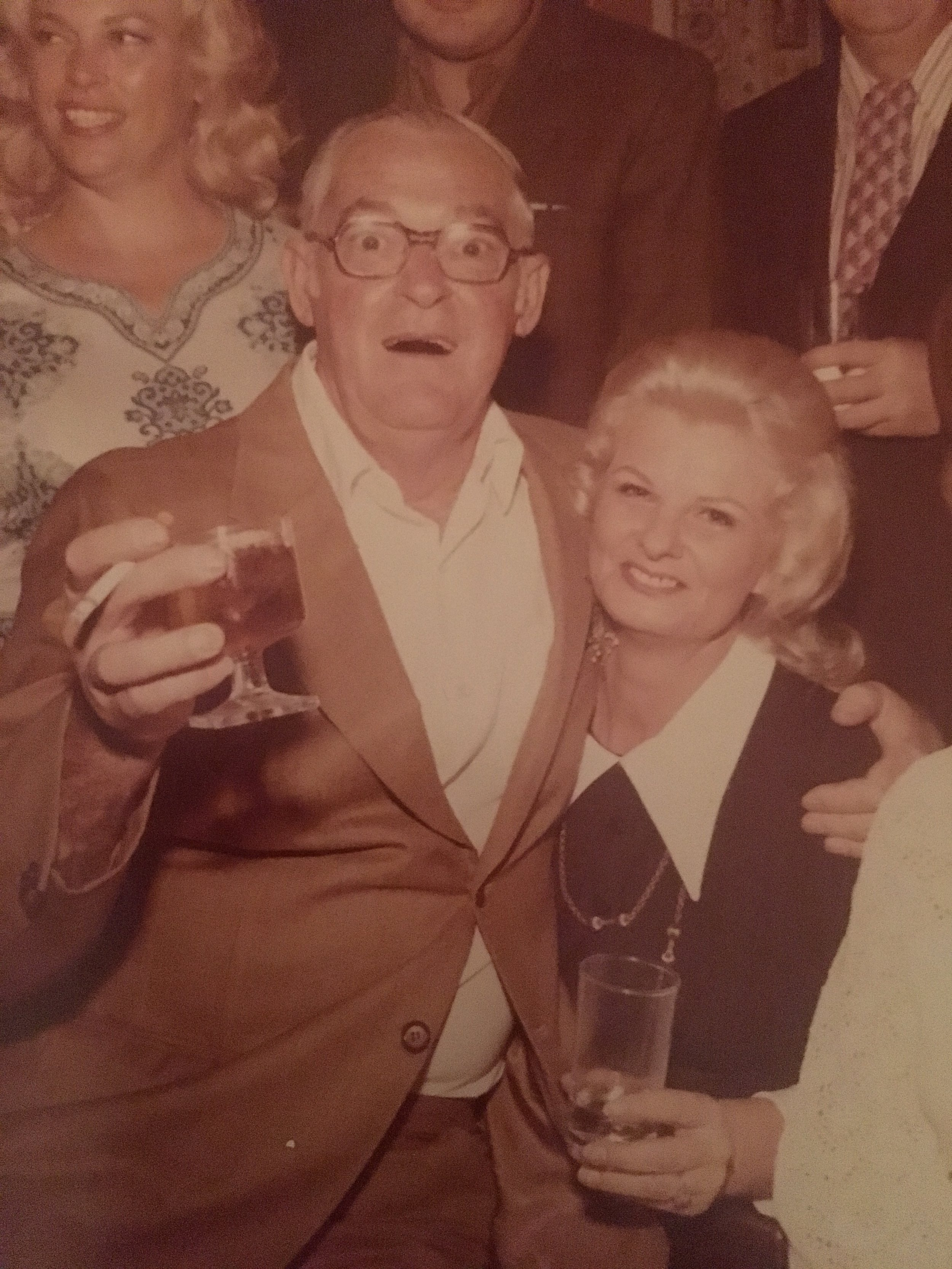 Uncle Ed (left) with one of his many drinks in hand.