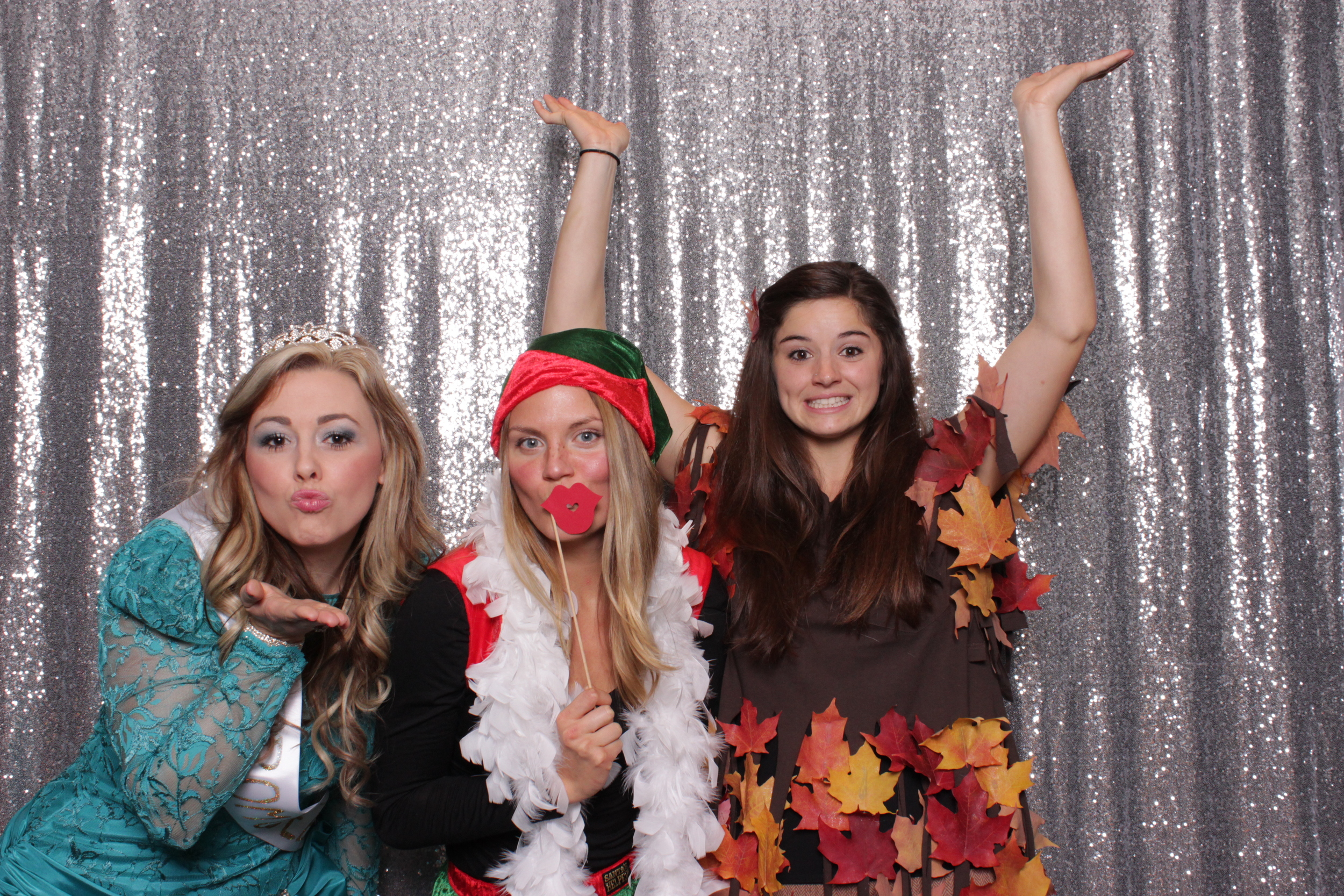 A prom queen, an elf and a tree. Not pictured is her lumberjack :D