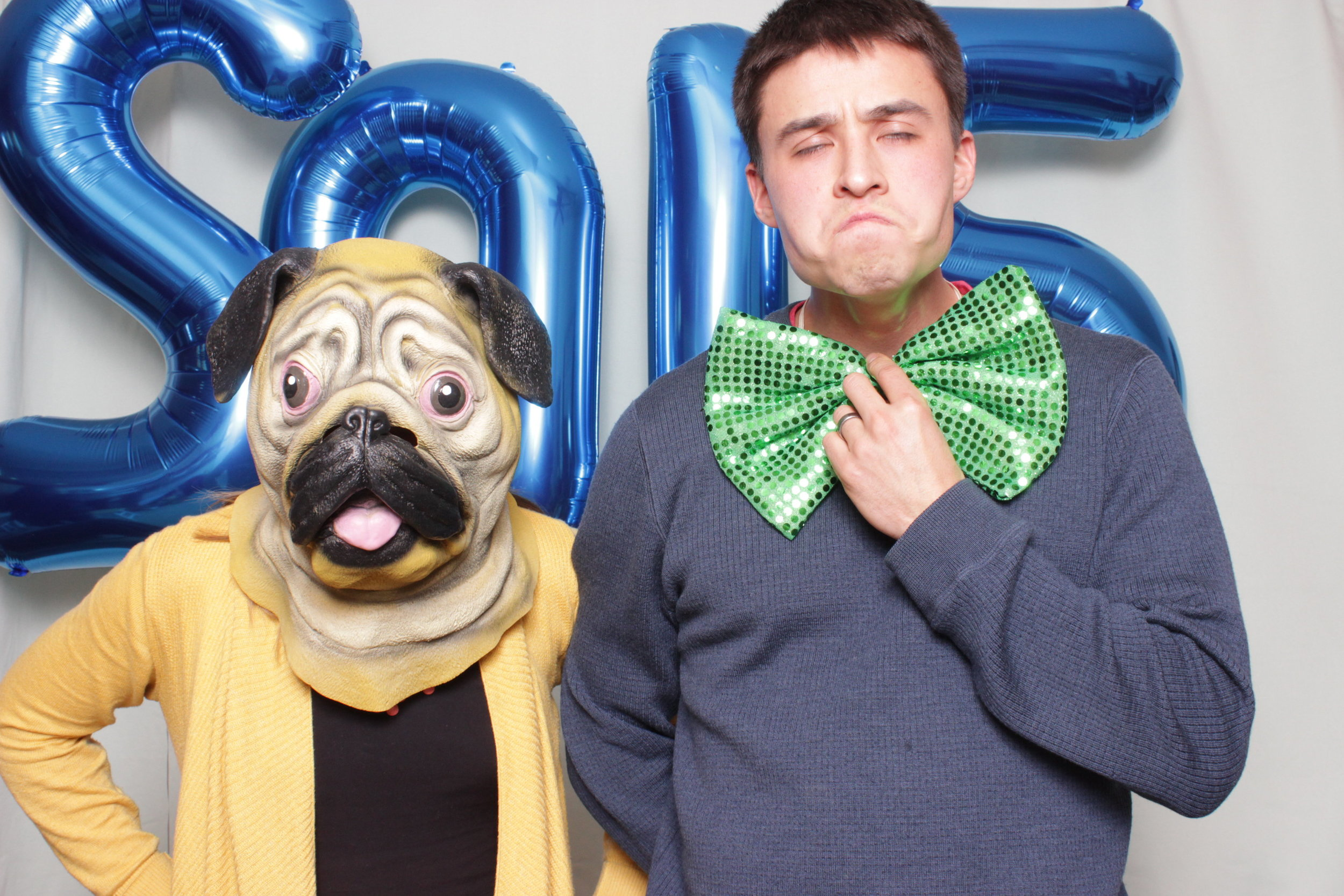 photo-booth-rental-in-chico-california-new-years-party-pug-mask-green-bow-tie