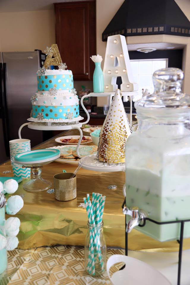 mint cake gold party planning decor