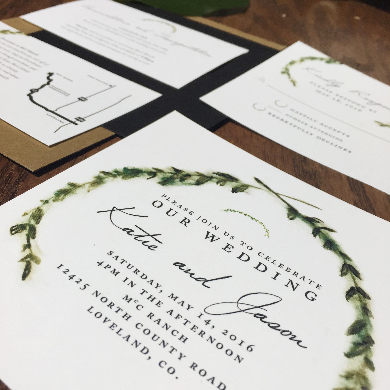 custom wedding invitation stationery woodland greenery hand-painted