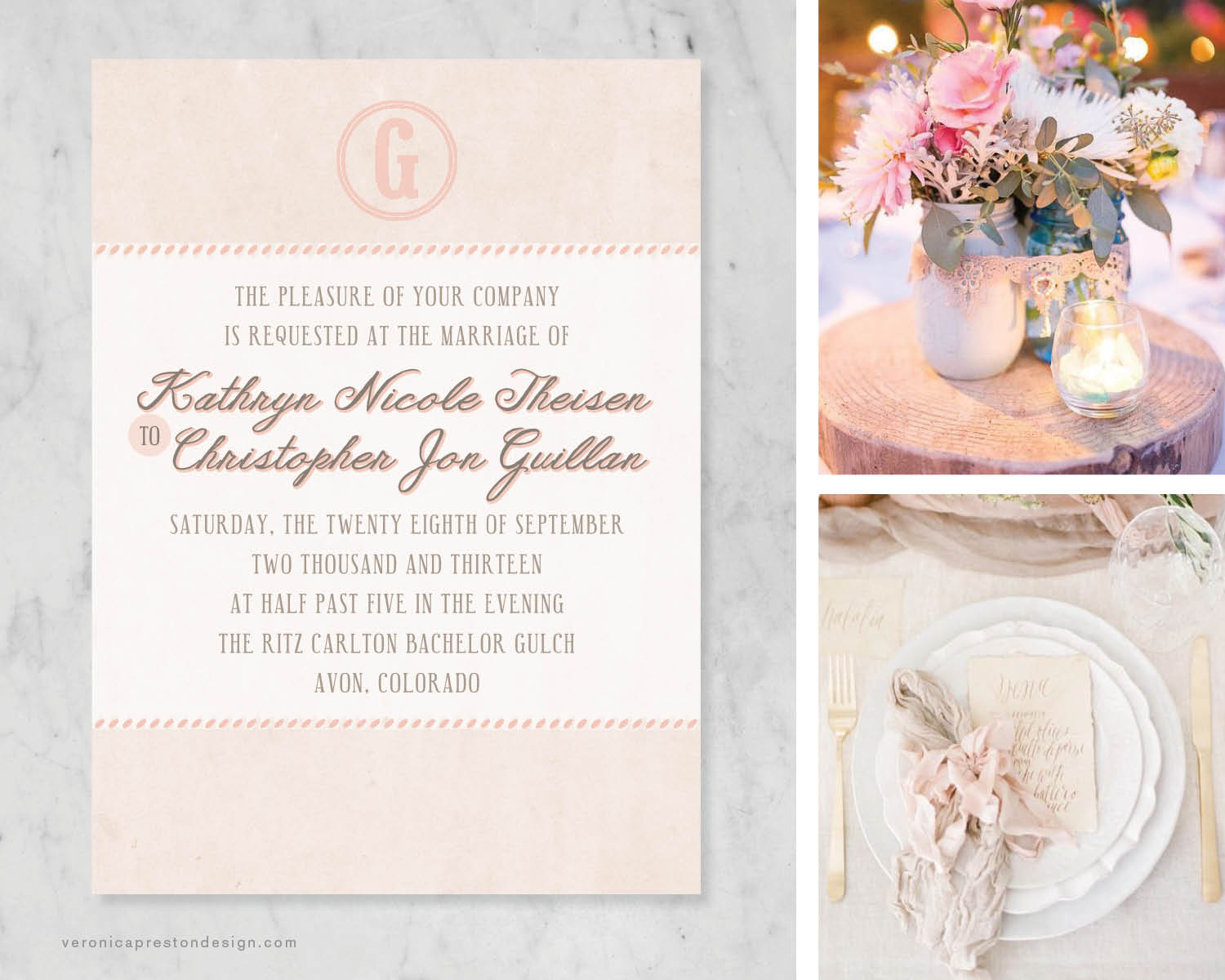 Click to see more about this mountain, rustic, and blush invitation suite!