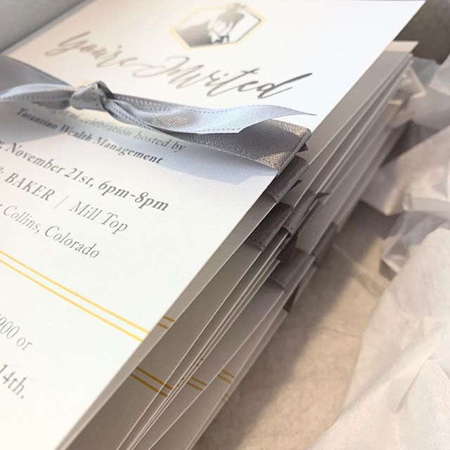These pretty things are being delivered tomorrow! This was a project with a local company that I was excited to be a part of! . . I created a custom invitation with their logo and branding as inspiration! We used beautiful, shimmer cardstock and envelopes and a hand-tied ribbon to create the perfect finish. . . #fortcollinsbusiness #fortcollinscolorado #customdesign #stationerydesign #custominvitations #coloradodesigner #eventinvitations
