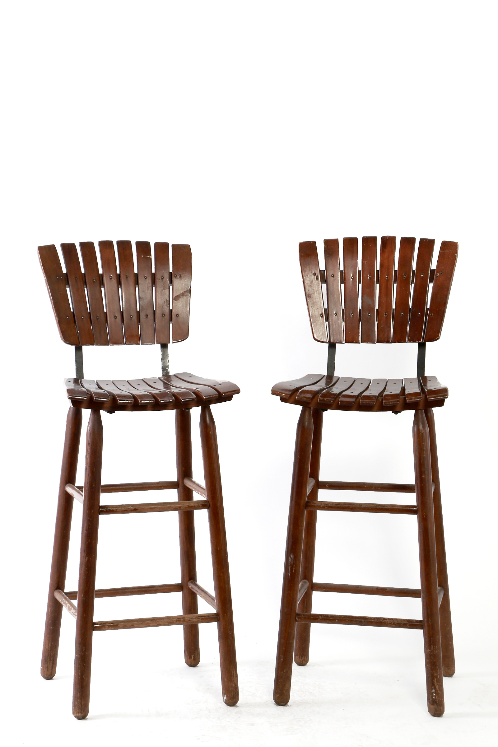Wooden Slat Bar Stools
