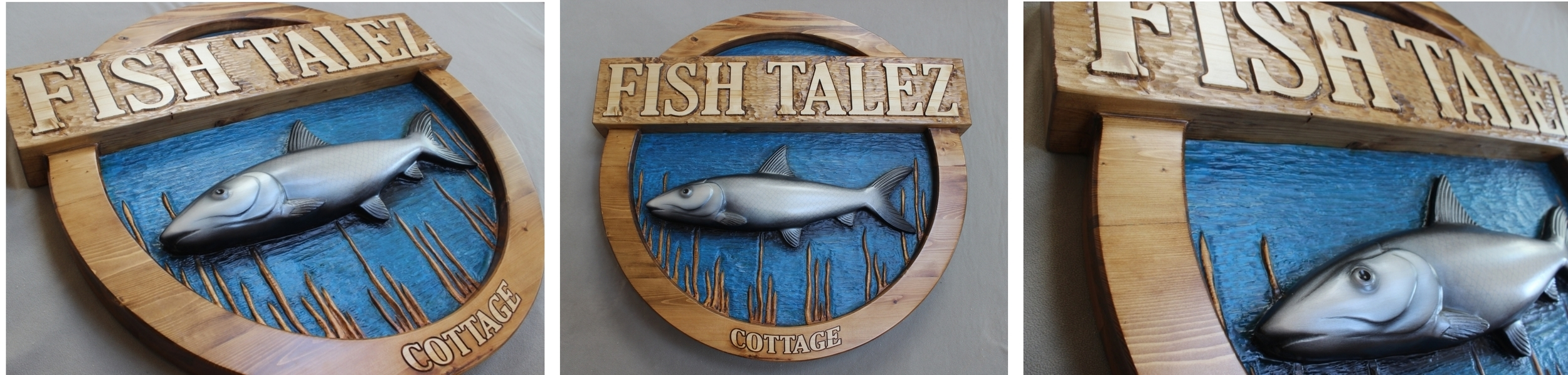 Fish Talez - A 4' diameter bonefish sign for a fisherman's home in Florida. By Lazy River Studio