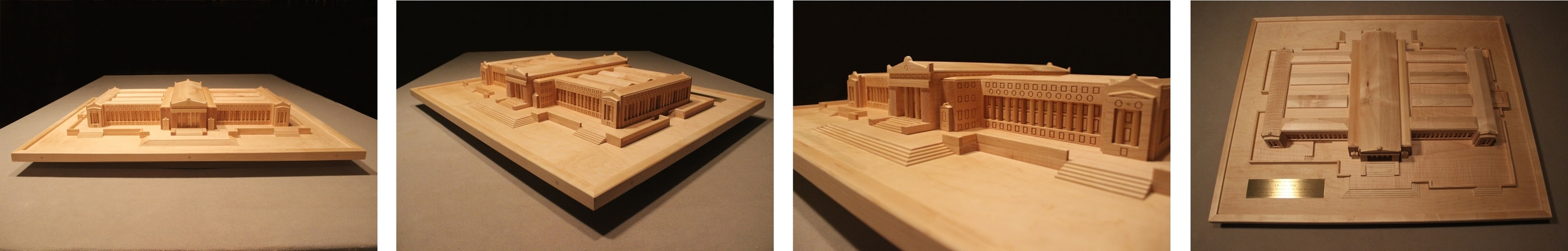 """A scaled model of the Chicago Field Museum made from solid maple measuring approx 36"""" x 24"""". This display was made for the retiring Vice President of the museum's board of directors."""