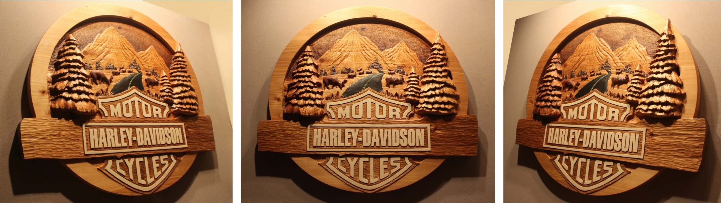 "Custom Harley Davidson, Hand Carved Sign.  Made from cedar and approx 48"" wide and 5"" thick.  Sign made for a license application and not for sale.  See how it was made in the video link."