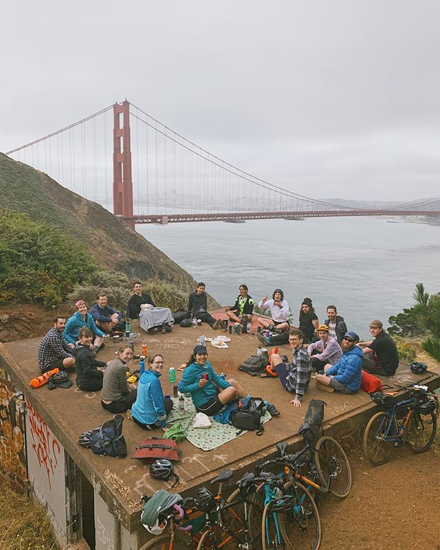 Come join us tomorrow. For the coffee [or tea, or nothing]. Outside. Away from the worries, separated from the City, and with all these smiling humans. . Meet us at 645am at GG Bridge Plaza, or just show up at Battery Wagner sometime around 7-8am and we'll be there drinking @latigocoffee and just hangin' out. . Bring a cup and some water and we'll add heat and coffee extract. Bring a stove/brewer if you have your own, and snacks to share are always welcome. . All types of bikes and people are welcome. It's just across the Bridge and up the first bit of Hawk Hill. Feel free to DM if you have any questions!