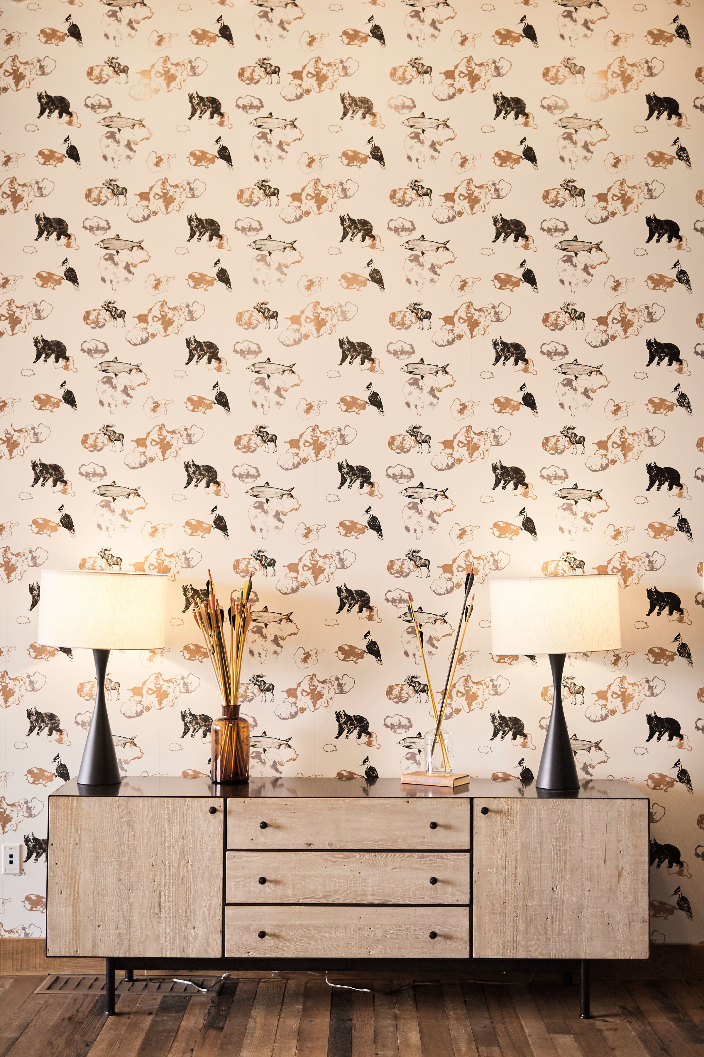 Modern wall paper detail at the Hewing Hotel