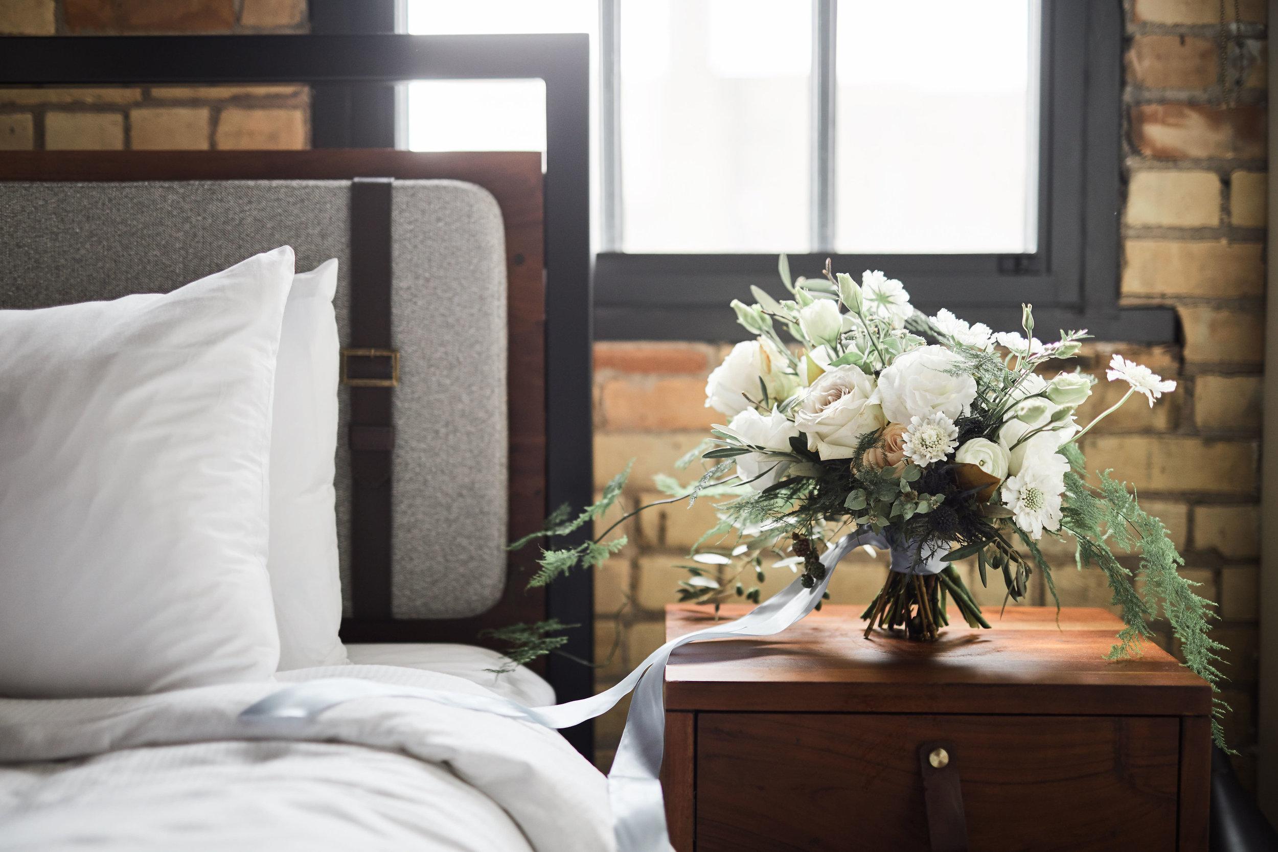 Bedside bouquet wedding flowers
