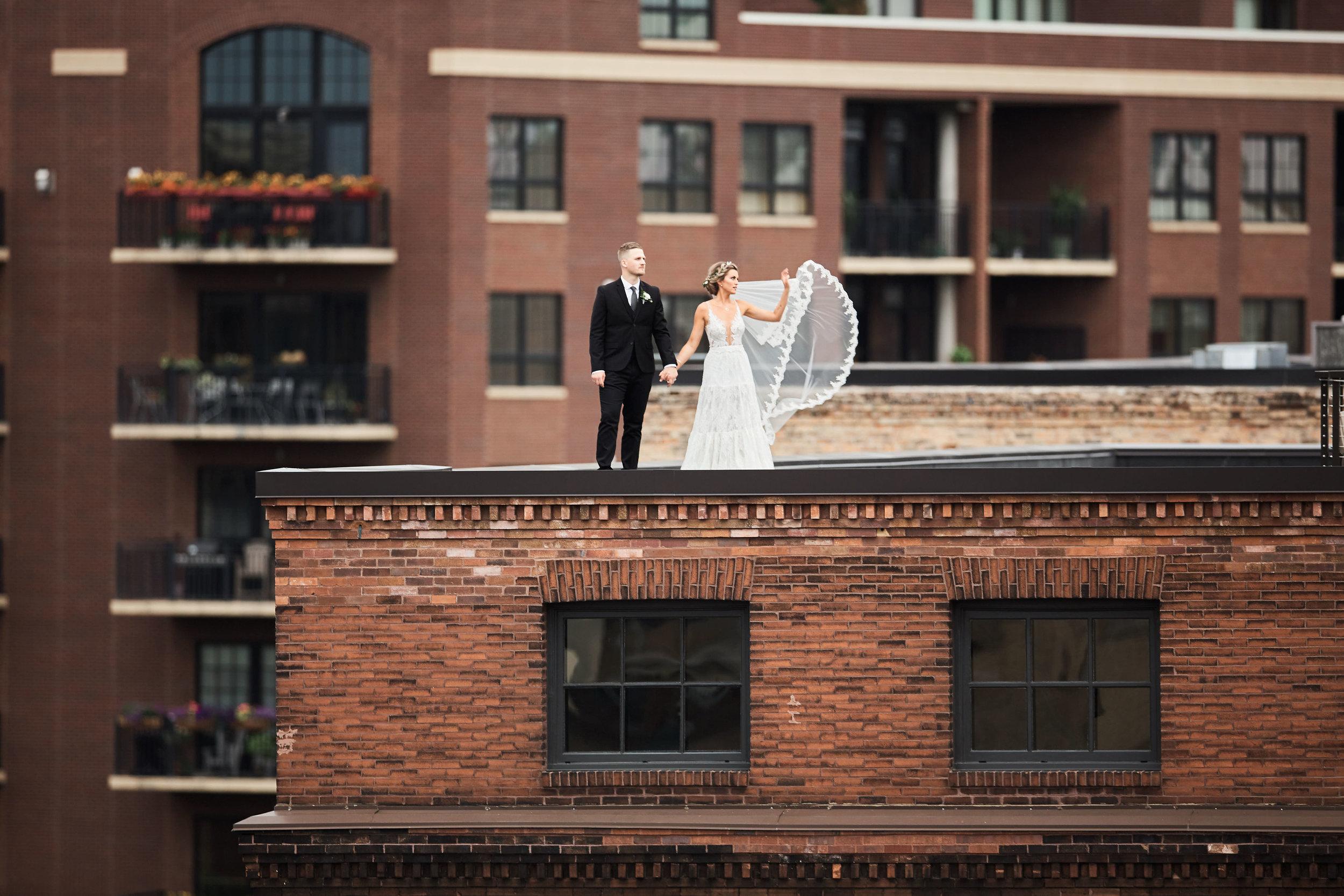 rooftop wedding couple