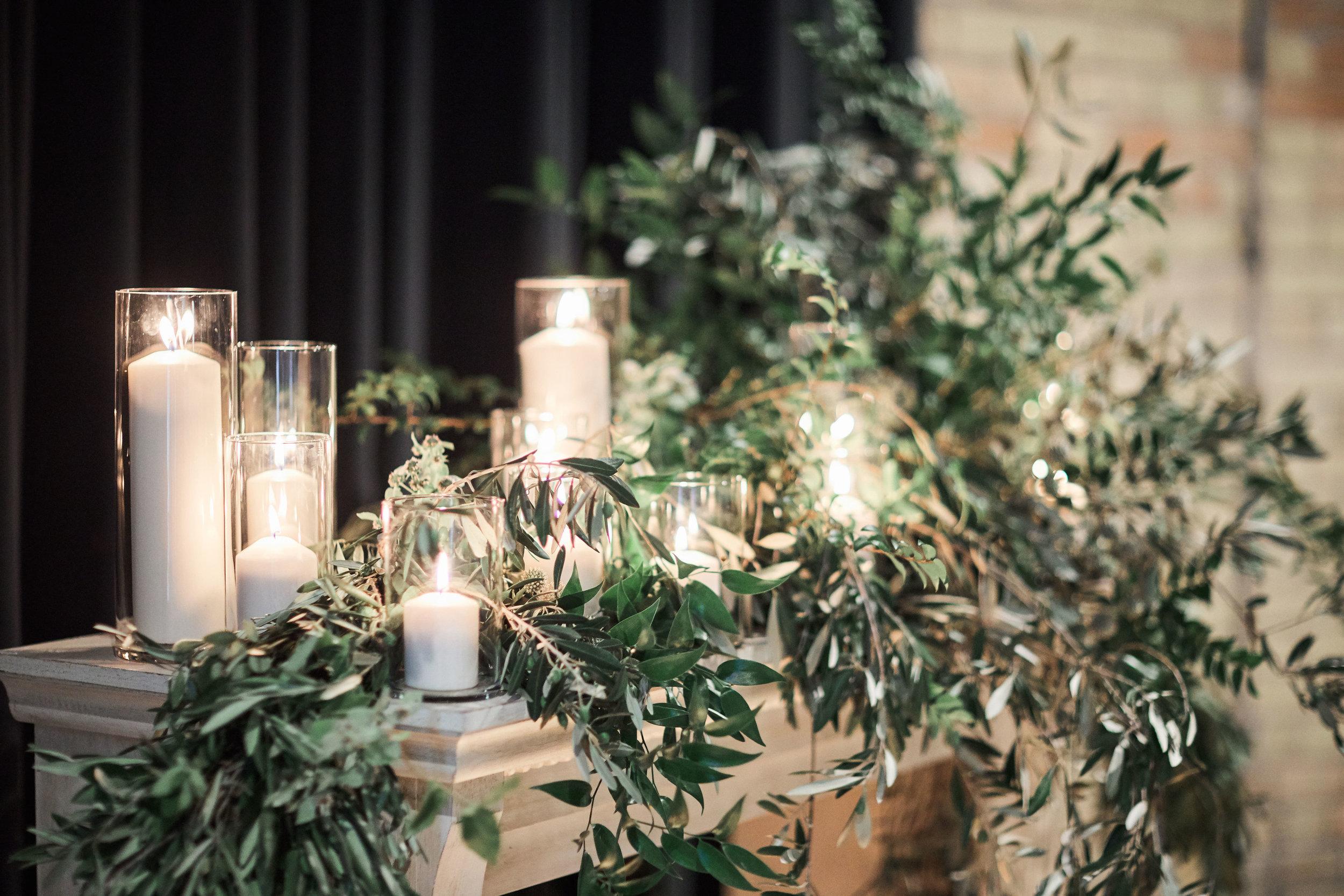 fireplace candle greenery