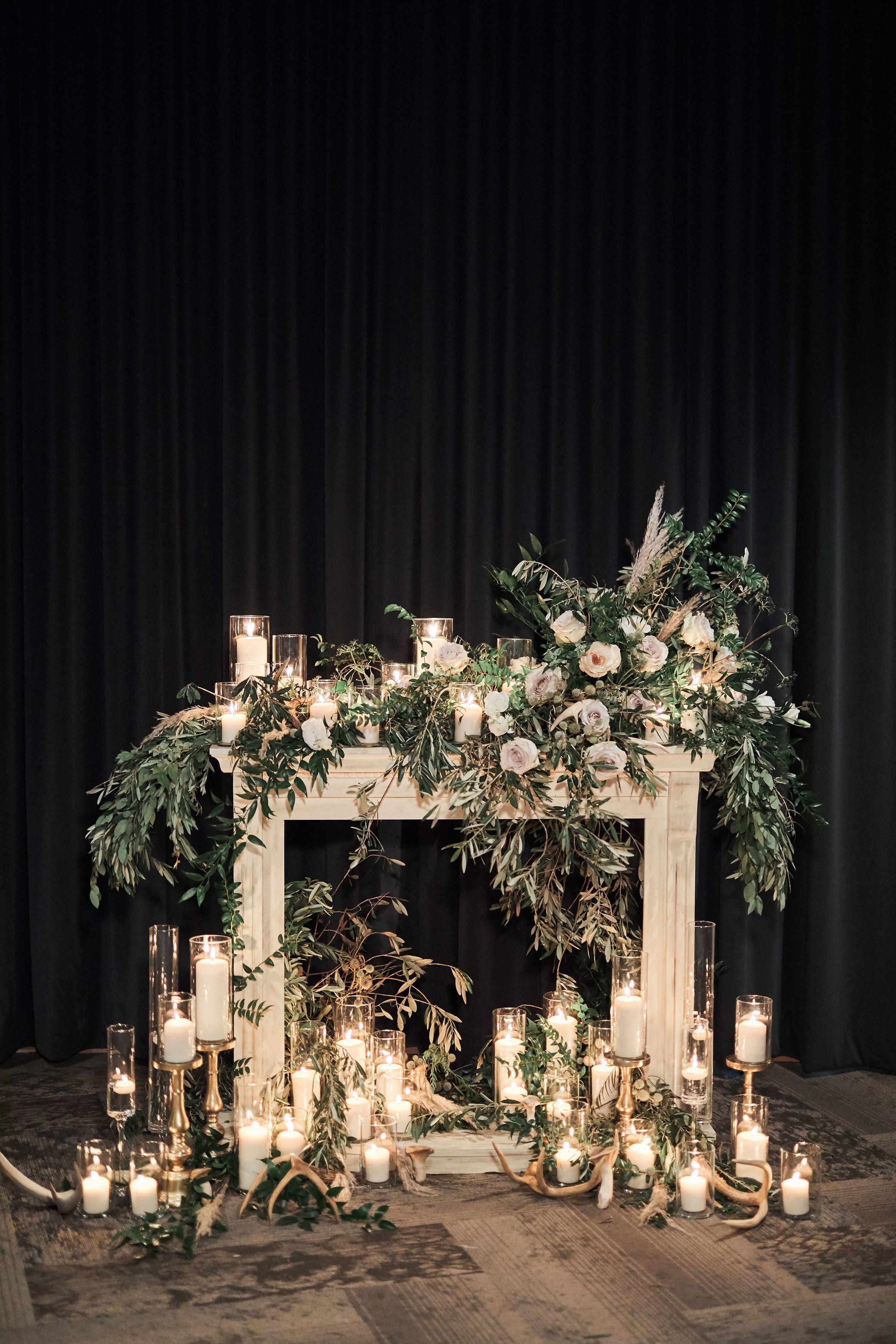 fireplace wedding backdrop installation