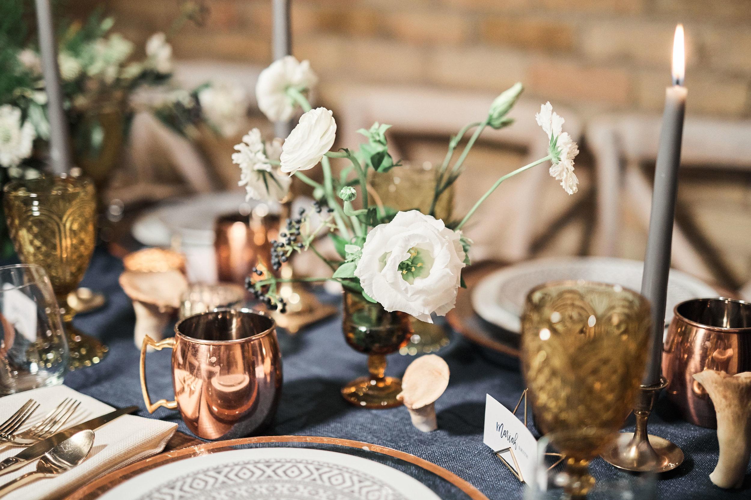 Nordic amber mushroom table flowers