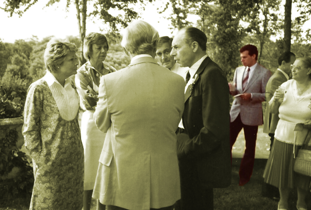 Reginald Miller's engagement party in Southern Pines NC with Jerrold Green (in color) in the background circa 1989