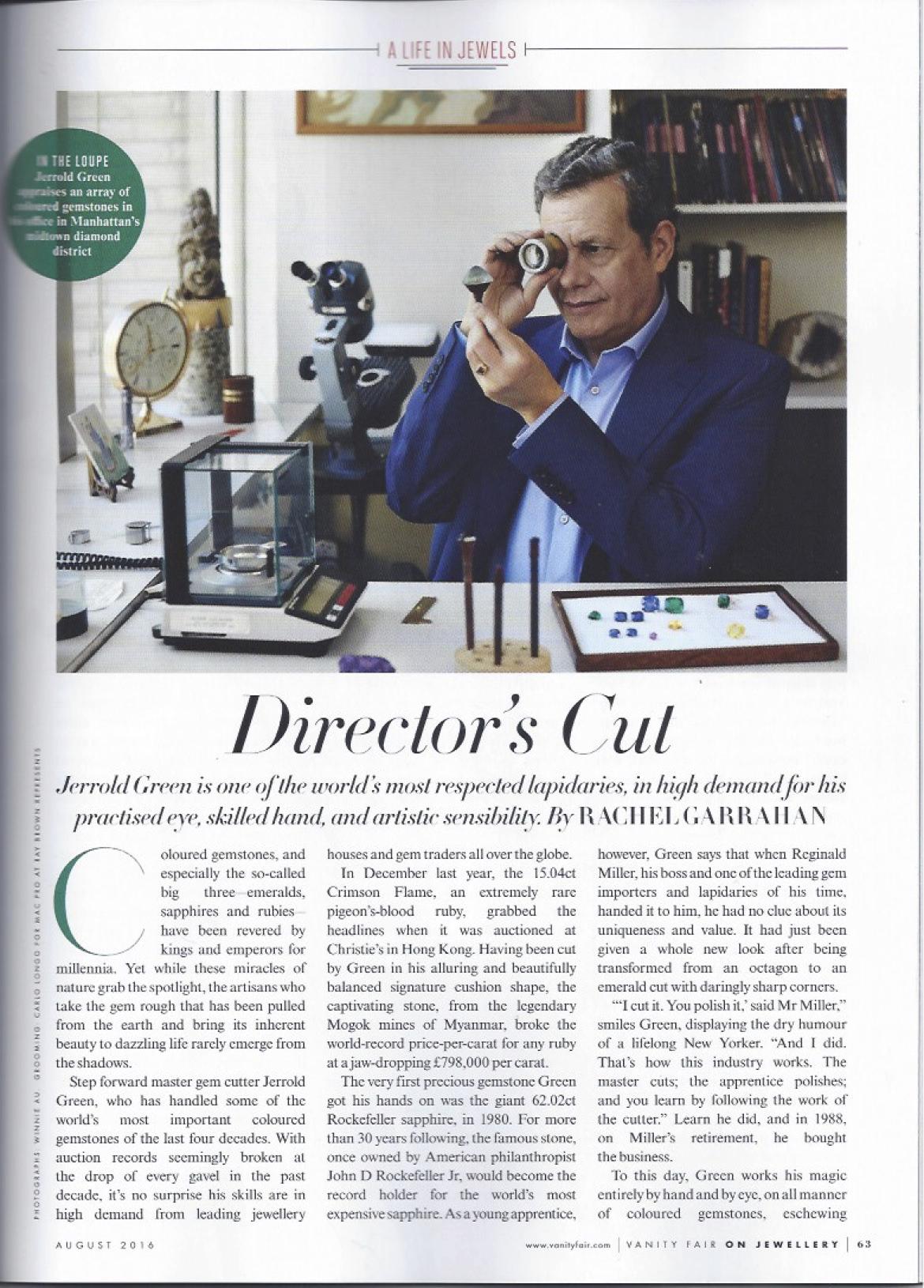 Jerrold Green, propietor of Reginald C. Miller featured in  Vanity Fair  - August 2016 -  download here