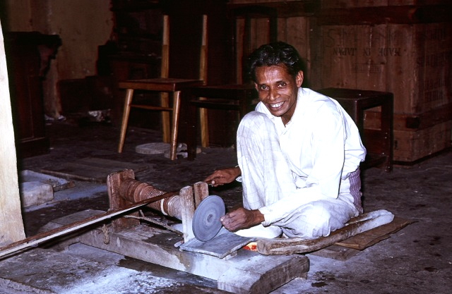 A Sri Lankan cutter in 1955 photo by Reginald C. Miller courtesy of  Reginald C. Miller, Lapidary.